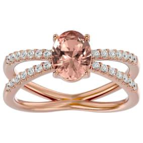 1.40 Carat Oval Shape Morganite and Diamond Ring In 14 Karat Rose Gold
