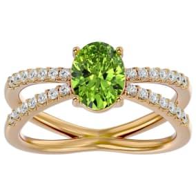 1.60 Carat Oval Shape Peridot and Diamond Ring In 14 Karat Yellow Gold