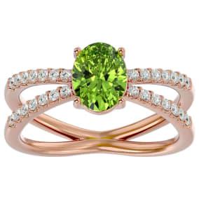1.60 Carat Oval Shape Peridot and Diamond Ring In 14 Karat Rose Gold