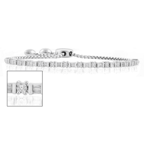 1/2 Carat Round and Baguette Diamond Adjustable Bolo Slide Tennis Bracelet In Sterling Silver. Beautiful Brand New Style Everyone LOVES!