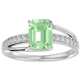 1 3/4 Carat Emerald Shape Green Amethyst and Diamond Ring In 14 Karat White Gold