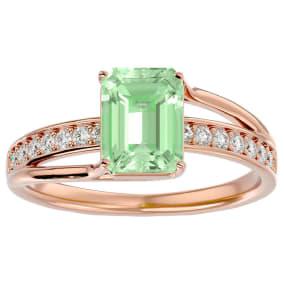 1 3/4 Carat Emerald Shape Green Amethyst and Diamond Ring In 14 Karat Rose Gold