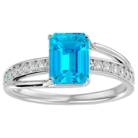 2 Carat Emerald Shape Blue Topaz and Diamond Ring In 14 Karat White Gold