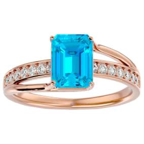 2 Carat Emerald Shape Blue Topaz and Diamond Ring In 14 Karat Rose Gold