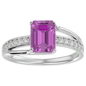 2 Carat Emerald Shape Pink Topaz and Diamond Ring In 14 Karat White Gold