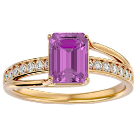 2 Carat Emerald Shape Pink Topaz and Diamond Ring In 14 Karat Yellow Gold