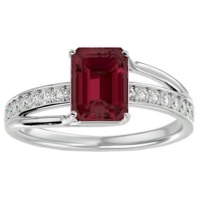 2 Carat Emerald Shape Garnet and Diamond Ring In 14 Karat White Gold
