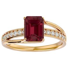2 Carat Emerald Shape Garnet and Diamond Ring In 14 Karat Yellow Gold