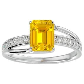 1 3/4 Carat Emerald Shape Citrine and Diamond Ring In 14 Karat White Gold