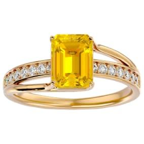 1 3/4 Carat Emerald Shape Citrine and Diamond Ring In 14 Karat Yellow Gold