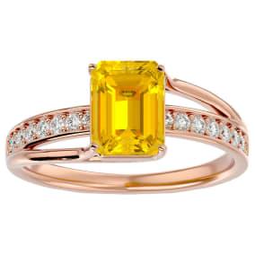 1 3/4 Carat Emerald Shape Citrine and Diamond Ring In 14 Karat Rose Gold