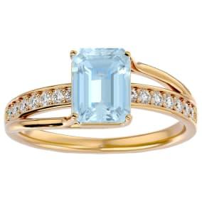 1 1/2 Carat Emerald Shape Aquamarine and Diamond Ring In 14 Karat Yellow Gold