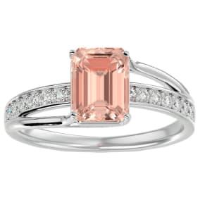 1 1/2 Carat Emerald Shape Morganite and Diamond Ring In 14 Karat White Gold. Brand New Wonderful Style!