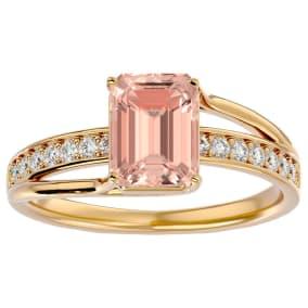 1 1/2 Carat Emerald Shape Morganite and Diamond Ring In 14 Karat Yellow Gold. Brand New Wonderful Style!