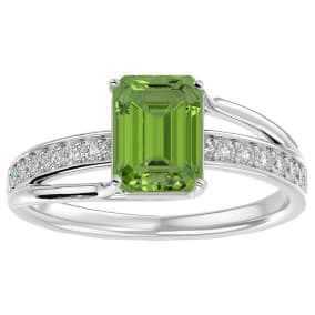2 Carat Emerald Shape Peridot and Diamond Ring In 14 Karat White Gold