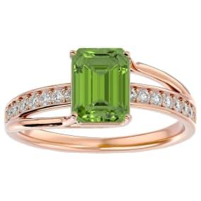 2 Carat Emerald Shape Peridot and Diamond Ring In 14 Karat Rose Gold