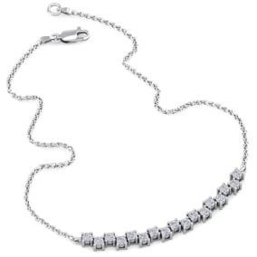 3/4 Carat Diamond Cluster Bar Necklace In 14 Karat White Gold, 18 Inches