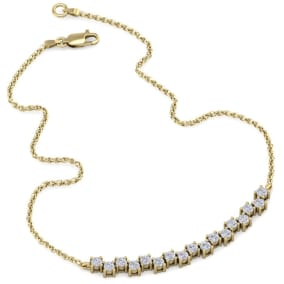 3/4 Carat Diamond Cluster Bar Necklace In 14 Karat Yellow Gold, 18 Inches