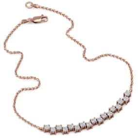 3/4 Carat Diamond Cluster Bar Necklace In 14 Karat Rose Gold, 18 Inches