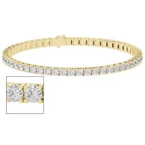 5 Carat Moissanite Tennis Bracelet In 14 Karat Yellow Gold, 7 Inches