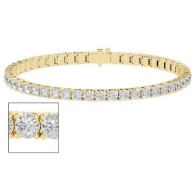8 Carat Moissanite Tennis Bracelet In 14 Karat Yellow Gold, 7 Inches