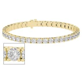 11 1/2 Carat Moissanite Tennis Bracelet In 14 Karat Yellow Gold, 7 Inches
