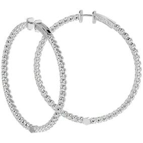 7 3/4 Carat Diamond Hoop Earrings In 14 Karat White Gold, 2 Inches