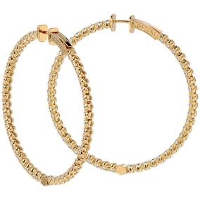 7 3/4 Carat Diamond Hoop Earrings In 14 Karat Yellow Gold, 2 Inches
