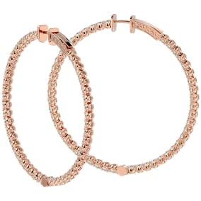7 3/4 Carat Diamond Hoop Earrings In 14 Karat Rose Gold, 2 Inches