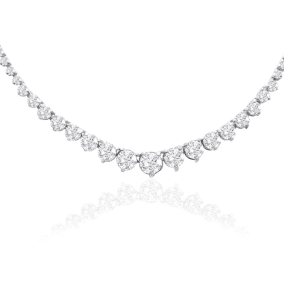 Graduated 8 Carat Diamond Tennis Necklace In 14 Karat White Gold