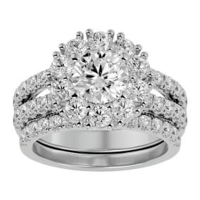 3 1/2 Carat Shape Diamond Bridal Set In 14 Karat White Gold