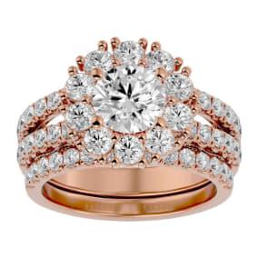 3 1/2 Carat Shape Diamond Bridal Set In 14 Karat Rose Gold