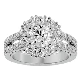 3 Carat Halo Diamond Engagement Ring In 14 Karat White Gold