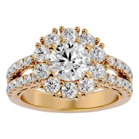 3 Carat Halo Diamond Engagement Ring In 14 Karat Yellow Gold