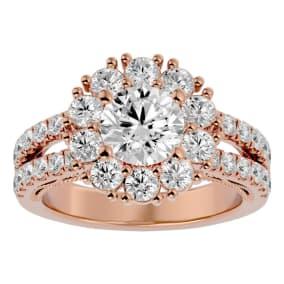 3 Carat Halo Diamond Engagement Ring In 14 Karat Rose Gold