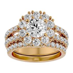 3 1/2 Carat Shape Diamond Bridal Set In 14 Karat Yellow Gold