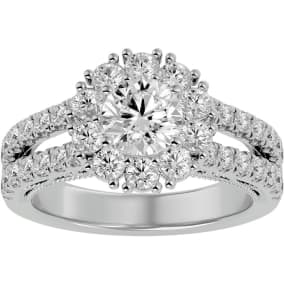 4 Carat Halo Diamond Engagement Ring In 14 Karat White Gold