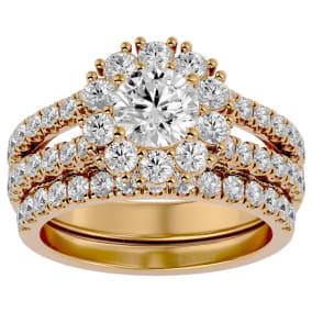 4 1/2 Carat Shape Diamond Bridal Set In 14 Karat Yellow Gold