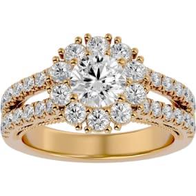 4 Carat Halo Diamond Engagement Ring In 14 Karat Yellow Gold