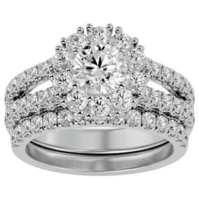 4 1/2 Carat Shape Diamond Bridal Set In 14 Karat White Gold