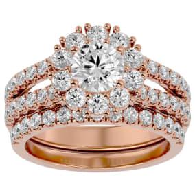4 1/2 Carat Shape Diamond Bridal Set In 14 Karat Rose Gold