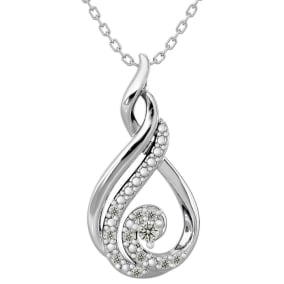 11 Fiery Diamond Shimmering Stars Platinum Plated Necklace With Free Chain, 18 Inches.  BLOWOUT PRICED!