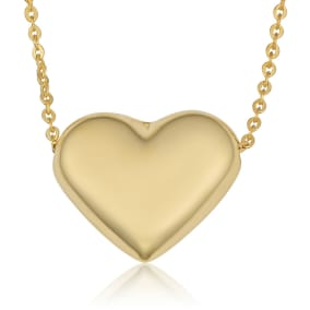 10 Karat Yellow Gold Bubble Heart Necklace, 18 Inches