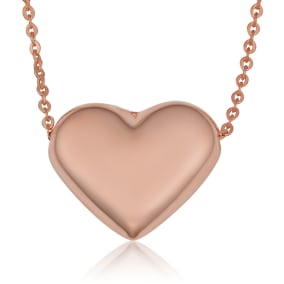 10 Karat Rose Gold Bubble Heart Necklace, 18 Inches