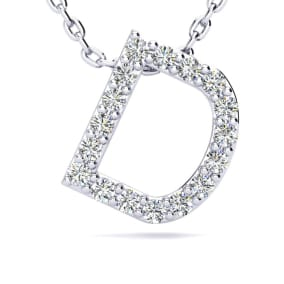D Initial Necklace In 1.4 Karat Gold™ With 17 Diamonds, 18 Inches