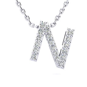 N Initial Necklace In 1.4 Karat Gold™ With 18 Diamonds, 18 Inches