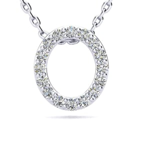 O Initial Necklace In 1.4 Karat Gold™ With 16 Diamonds, 18 Inches