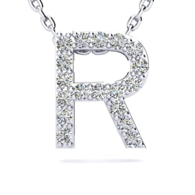 R Initial Necklace In 1.4 Karat Gold™ With 18 Diamonds, 18 Inches
