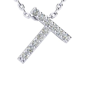 T Initial Necklace In 1.4 Karat Gold™ With 11 Diamonds, 18 Inches