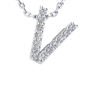 V Initial Necklace In 1.4 Karat Gold™ With 13 Diamonds, 18 Inches